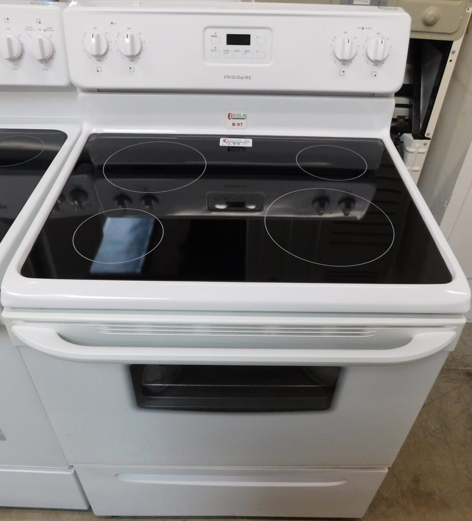 Stove 30 Inch Frigidaire Electric White Glass Top Stove B