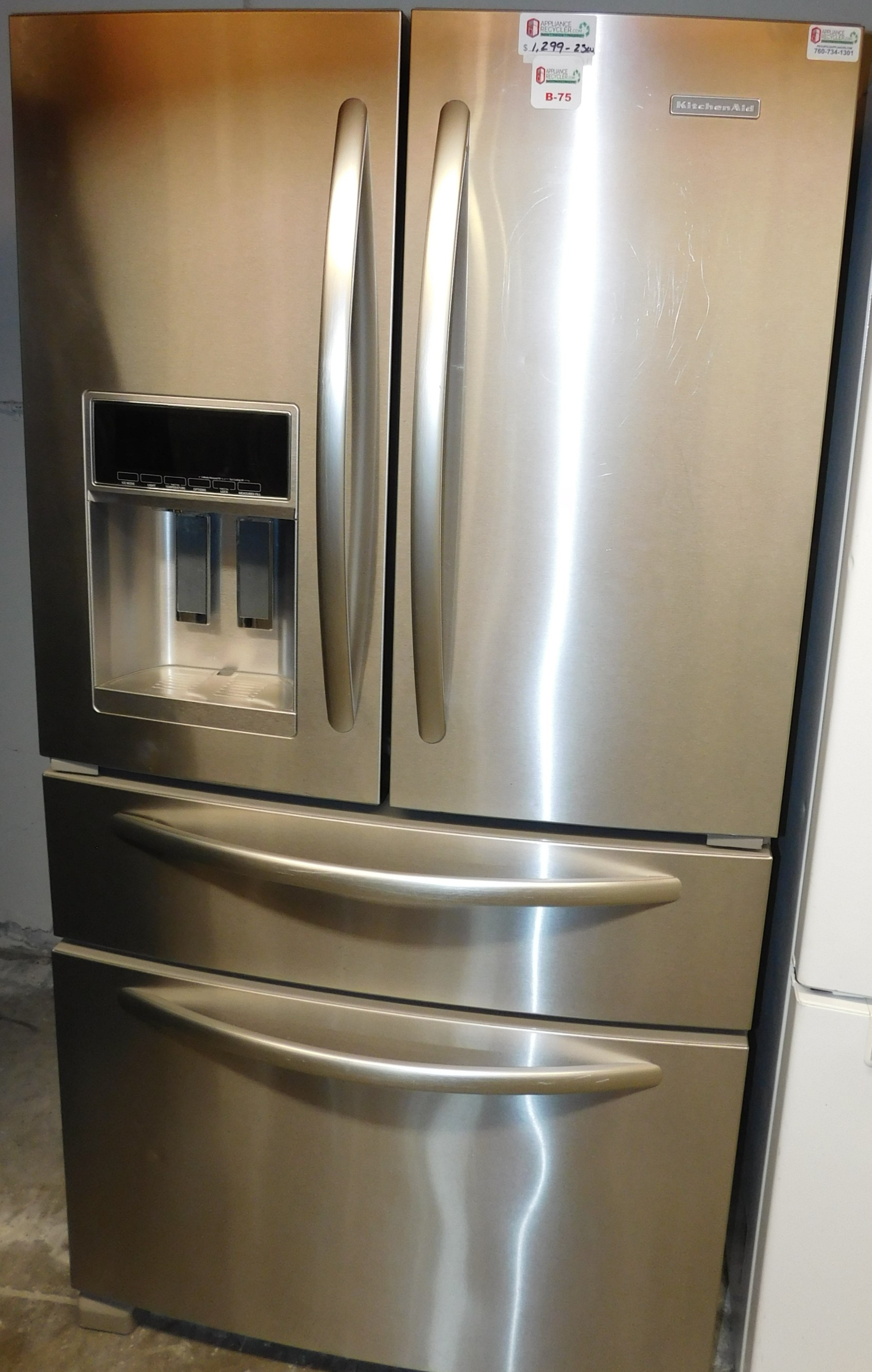 25 CU. FT. KITCHENAID FRENCH DOOR SIDE-BY-SIDE STAINLESS STEEL REFRIGERATOR  B-75