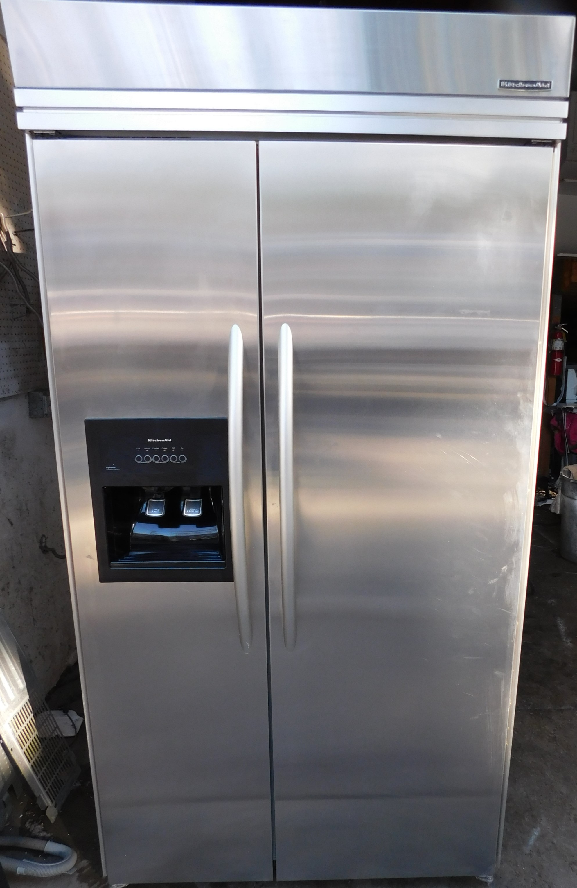25 CU. FT. KITCHEN AID STAINLESS STEEL SIDE-BY-SIDE BUILT-IN 42 INCH  REFRIGERATOR B-98- BLOWOUT PRICE!- saed bought 1-15-20
